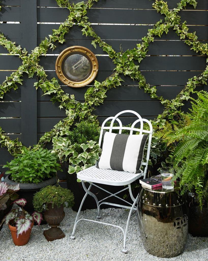 Высокий забор во дворе мы оригинально украсили плющом: способ очень простой и подойдет для стен или других поверхностей