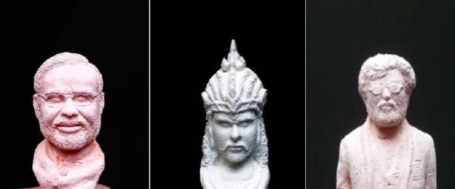 Индиец самостоятельно научился делать прекрасные скульптуры из кусочков мела