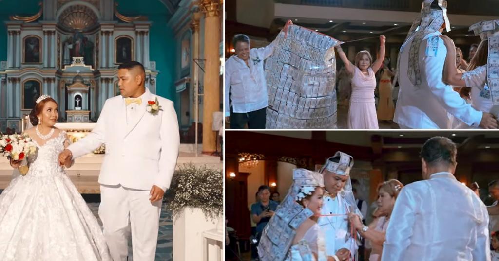 Свадьба точно окупилась! Крестные родители подарили молодоженам огромную накидку из денег (фото)