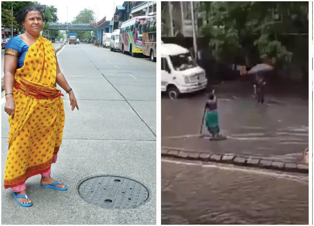 50-летняя индианка простояла 7 часов под дождем, чтобы предупредить прохожих о люке, скрытом под водой