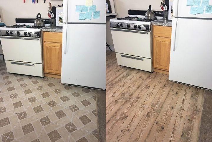 Подруга не поверила, что я обновила пол в кухне за 2 часа: я просто обклеила его бумагой