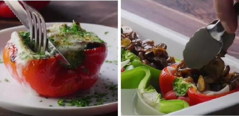 Любимое блюдо моего мужа: сочный болгарский перец, запеченный с грибами, говядиной и сыром