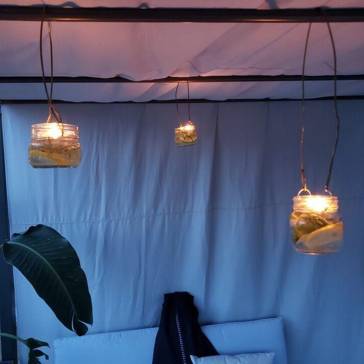 Сделала подвесные фонарики с лимоном: от комаров в беседке и след простыл
