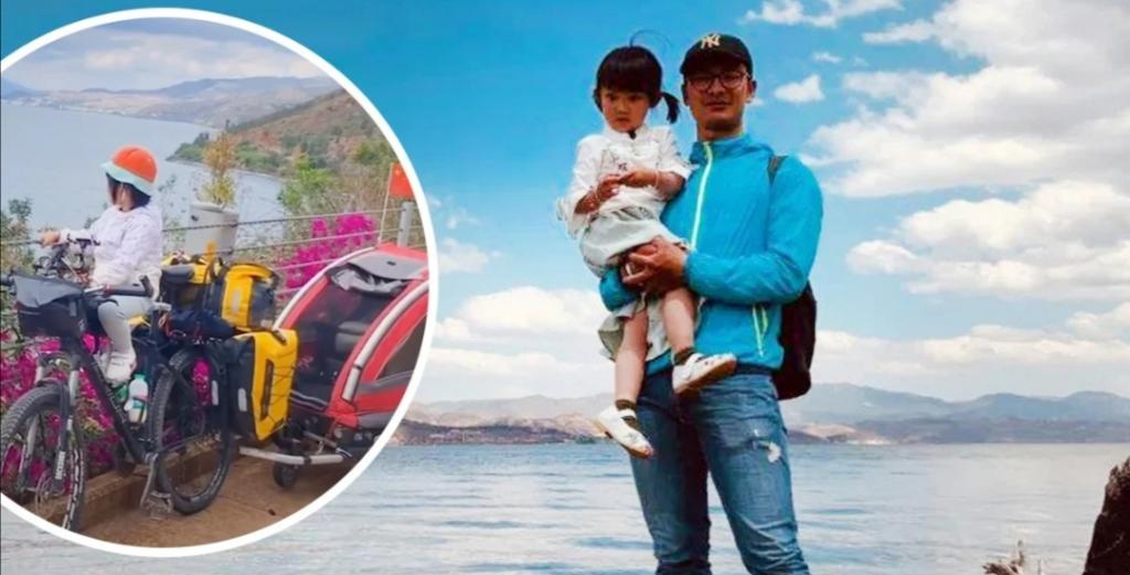Папа отправился в путешествие на велосипеде с 4-летней дочерью: поступок отца вызвал уважение у людей