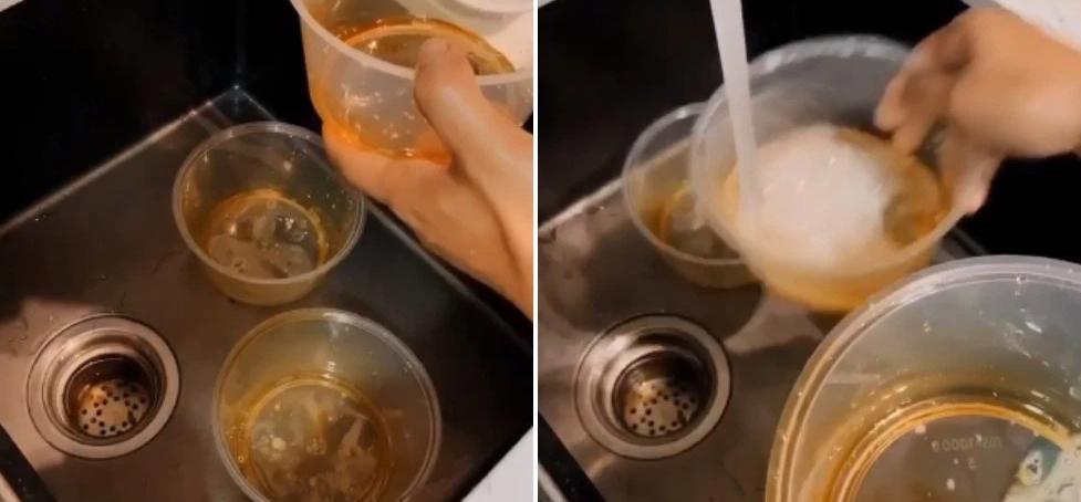 Парень помыл грязные контейнеры для еды за считаные секунды: от масла не осталось и следа