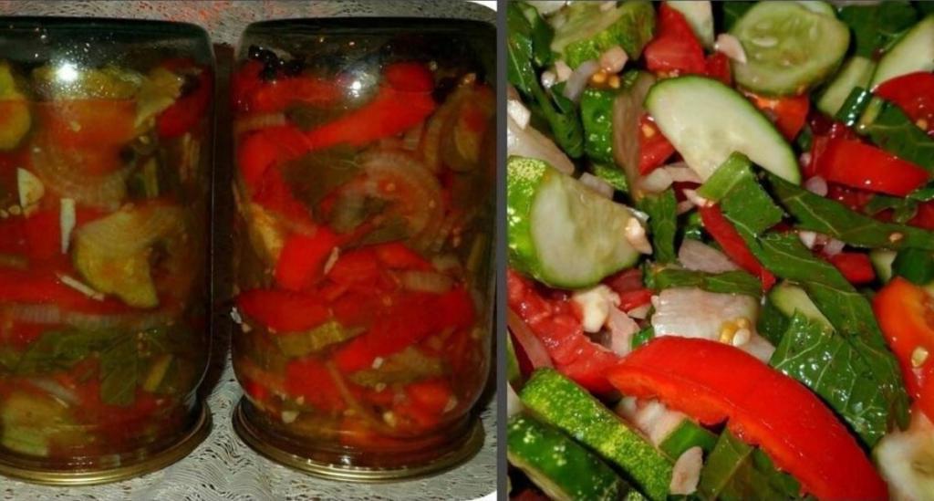 Беру помидоры, огурцы, перец и хрен. Получается вкуснейшая консервация на зиму (просто и дешево)
