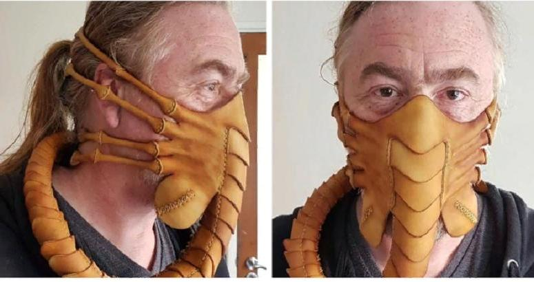 Я бы такое не решилась надеть! Мужчина создал кожаную маску для лица, вдохновившись фильмом «Чужой» (фото)