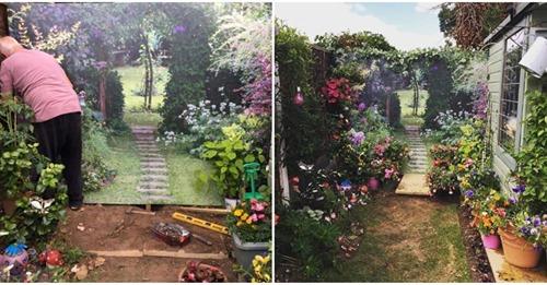 Соседка так украсила забор, что двор визуально увеличился вдвое
