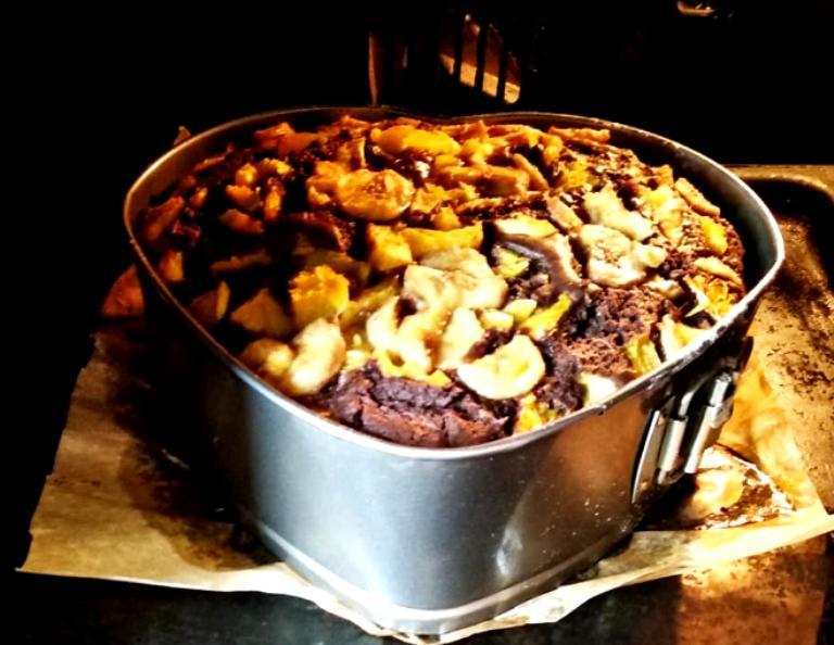 Пирожное Сладкое сердце. Делаю его с бананами и апельсинами
