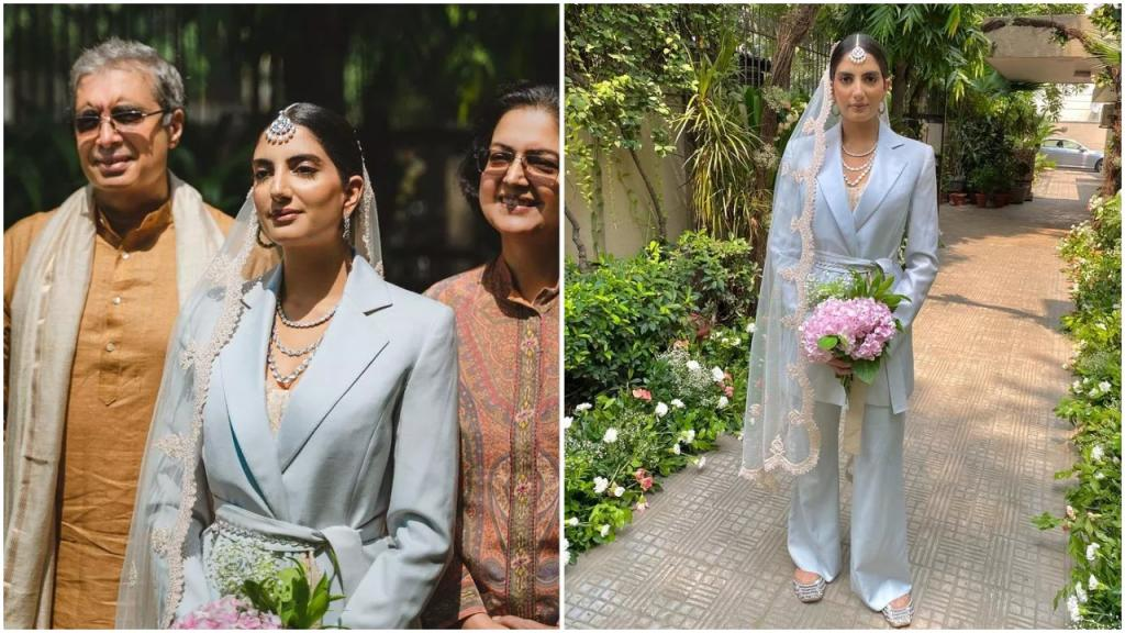 Индия: невеста отказалась от традиционной одежды и надела винтажный брючный костюм на свадьбу