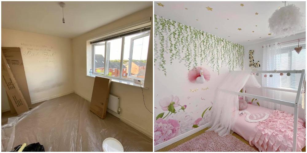 Мама купила белую краску, наклейки, сделала бюджетный ремонт в спальне дочки. Выглядит волшебно (фото до и после)