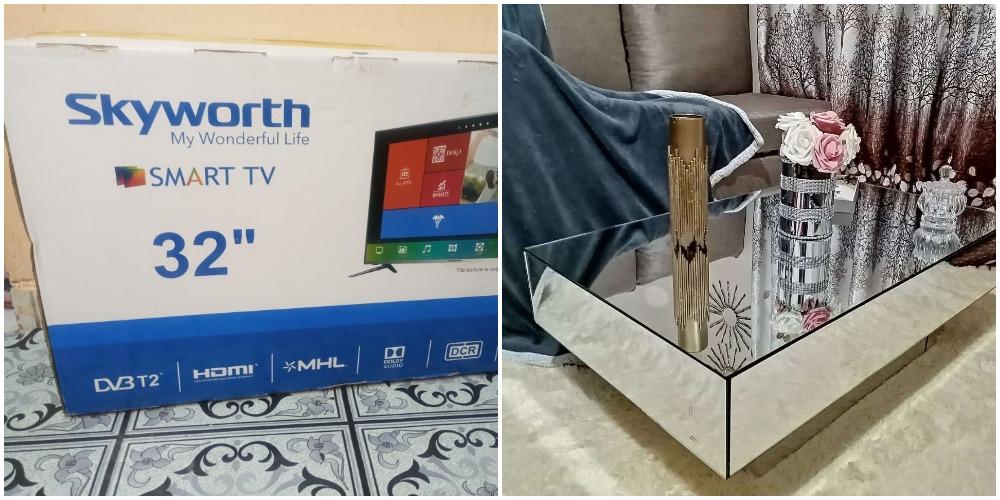 Женщина взяла коробку из-под телевизора и сделала зеркальный журнальный столик в гостиную. Выглядит потрясающе (фото)