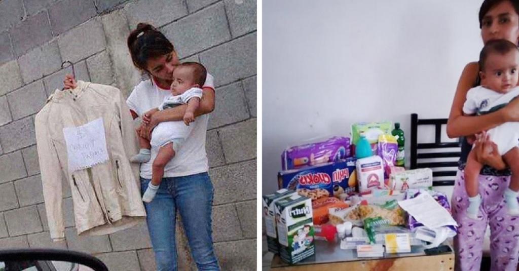 В Аргентине молодая мама вышла на улицу, чтобы обменять свою одежду на подгузники для малыша. Люди отреагировали сразу и помогли женщине
