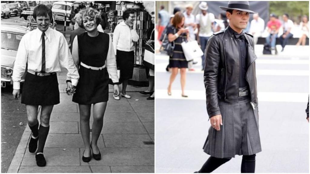 Они не испытывали смущения: в 1960-е даже мужчины носили мини-юбки, и некоторые пытаются сегодня возродить необычный тренд