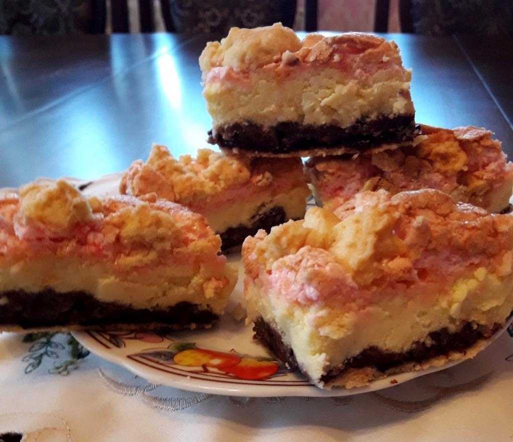 Польский пирог Полячка с творогом и джемом. В меру сладкий десерт из песочного теста