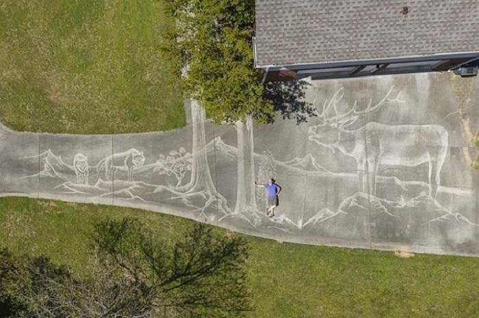 Мужчина с помощью автомойки нарисовал огромную фреску на асфальте возле своего дома