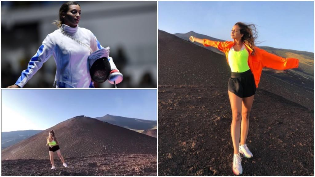 Фотокамера любит эту девушку: фехтовальщица из Сицилии Росселла Фьяминго проводит тренировки на фоне марсианских пейзажей горы Этна