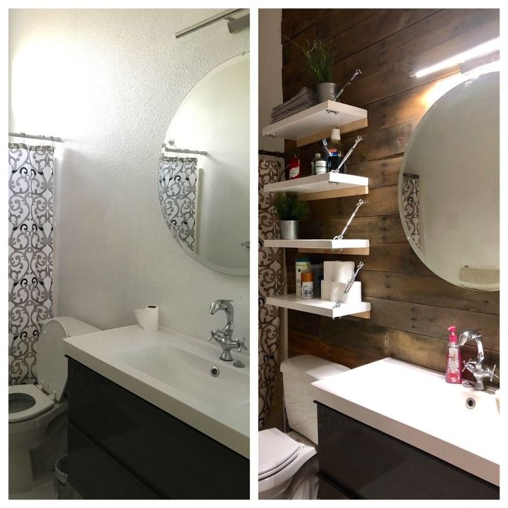 Разобрала старые поддоны и прикрутила доски к стене в ванной: результат вышел невероятным