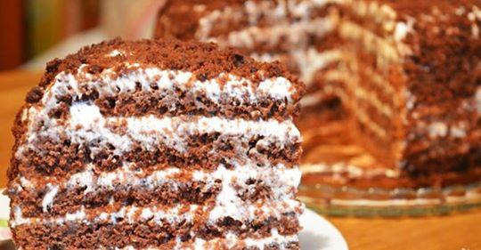 Простой и вкусный торт из сметаны и молока. Когда срочно нужно что-то к чаю