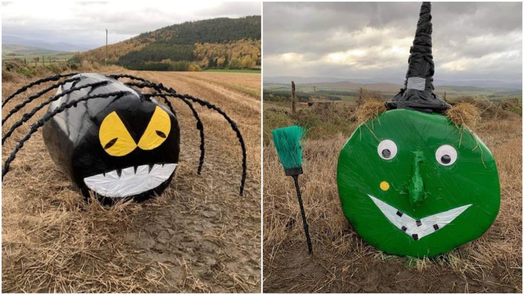 Фермер из Шотландии превратил тюки сена на своем поле в ведьм и пауков, чтобы порадовать детей на карантине