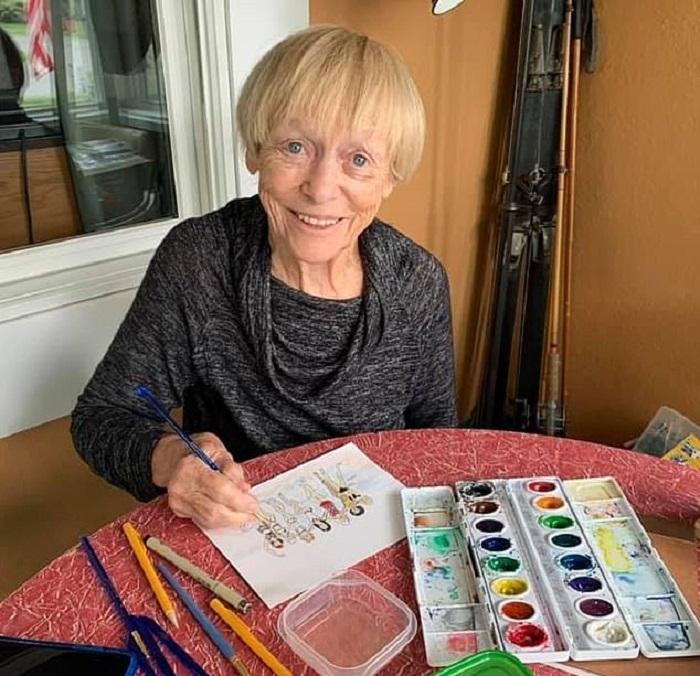 91-летняя бабушка из США победила коронавирус и теперь радует людей своими ежедневными рисунками