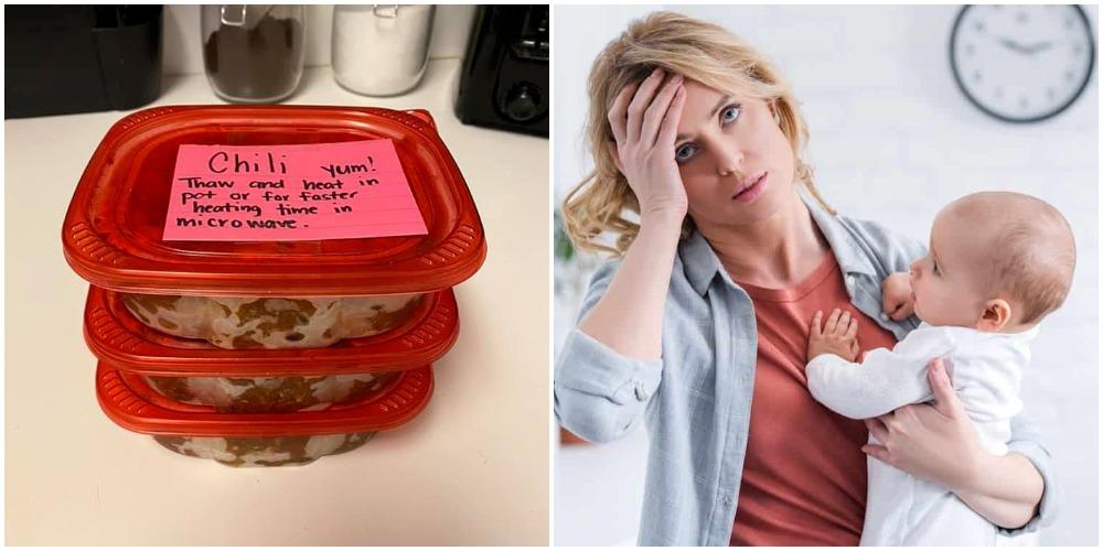 Чтобы облегчить себе жизнь в первые недели после рождения малыша, женщина разложила обеды по контейнерам и заморозила их. Люди высоко оценили ее навыки организации времени
