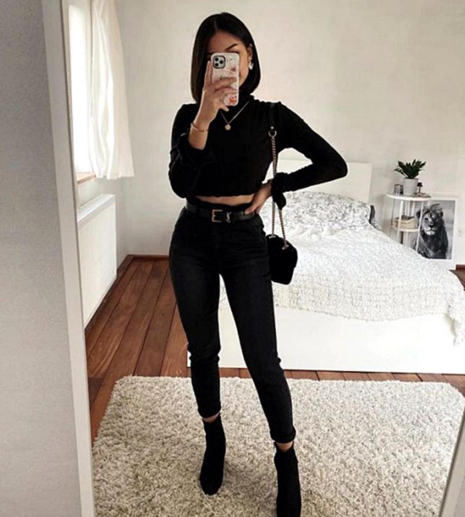 С чем носить черные брюки и джинсы: 8 стильных образов на каждый день