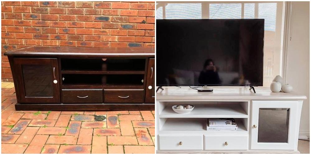 Белая краска творит чудеса: женщина похвасталась обновлением старой тумбочки под телевизор (фото до и после)