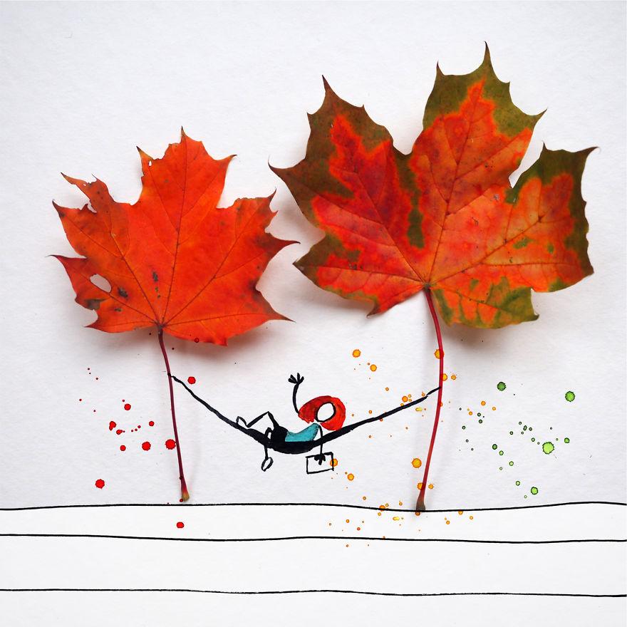 Гербарий на 5+: фотограф создает мечтательные сцены осени, используя засохшие листья, и пририсовывая к ним фигуры людей
