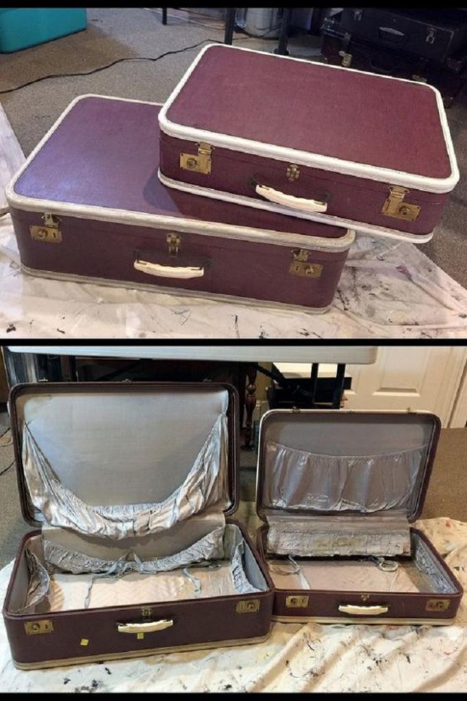 Из старого чемодана женщина сделала очень милый винтажный столик с местом для хранения внутри