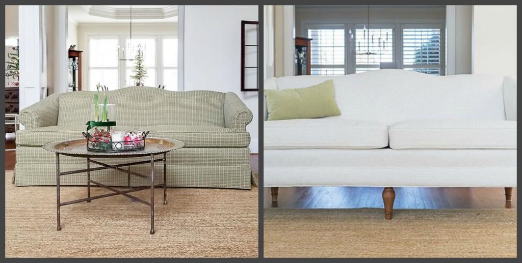 Мы не стали покупать новый диван, а сменили на старом обивку и прикрутили ножки: выглядит намного лучше