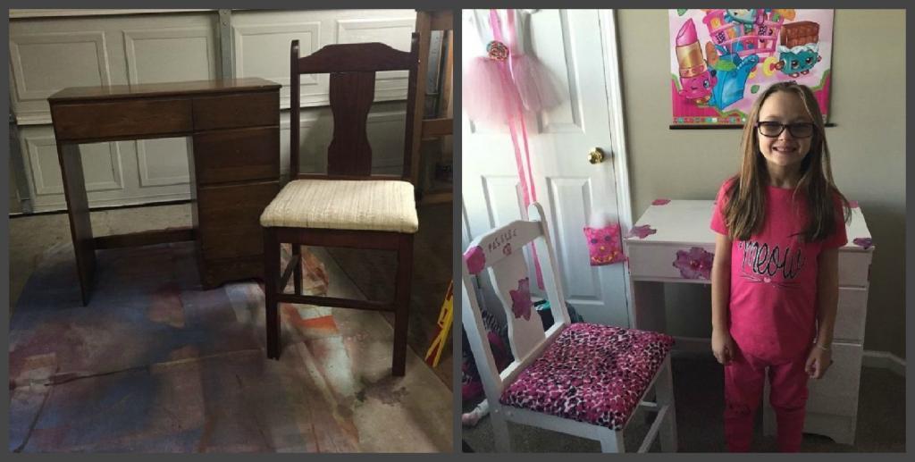 Купила на барахолке старые стол и стул, обклеила яркой бумагой и обтянула тканью - дочь в восторге от такого подарка