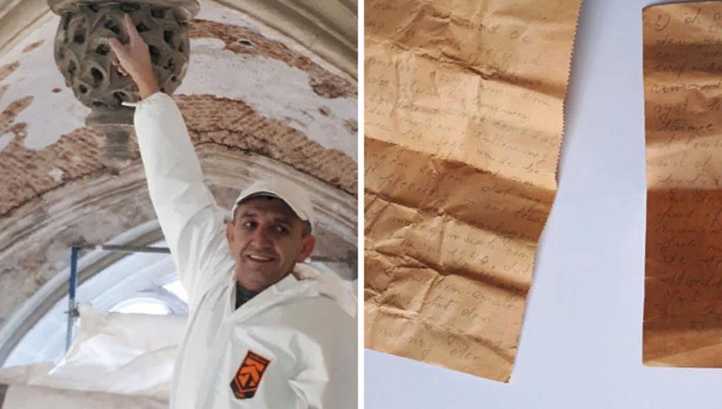 Во время ремонта рабочий обнаружил необычное послание 1941 года, спрятанное под крышей церкви
