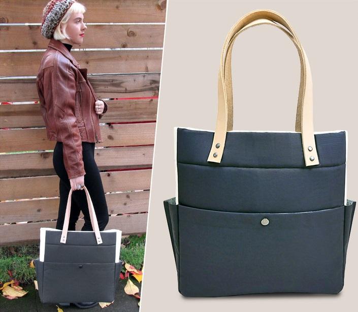 Сшила сама очень практичную вместительную сумку. Она двухцветная, с кожаными ручками, да и смотрится очень стильно