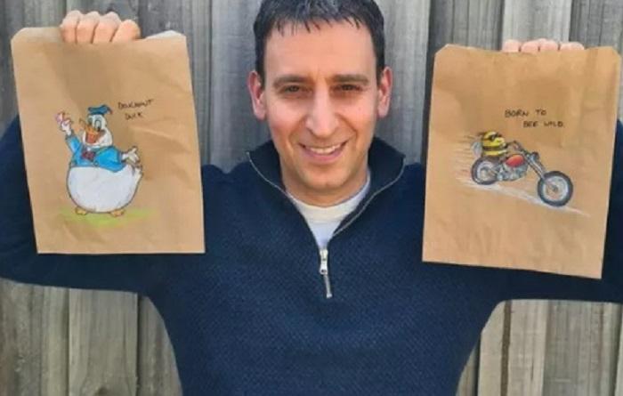 Заботливый папа каждый день рисует новый сюжет на пакетах для завтрака трем дочерям