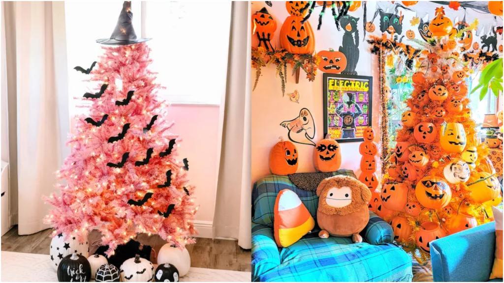 Невероятно, но на Хэллоуин становится модным выставлять елку. Только вот декор немного другой (фото)
