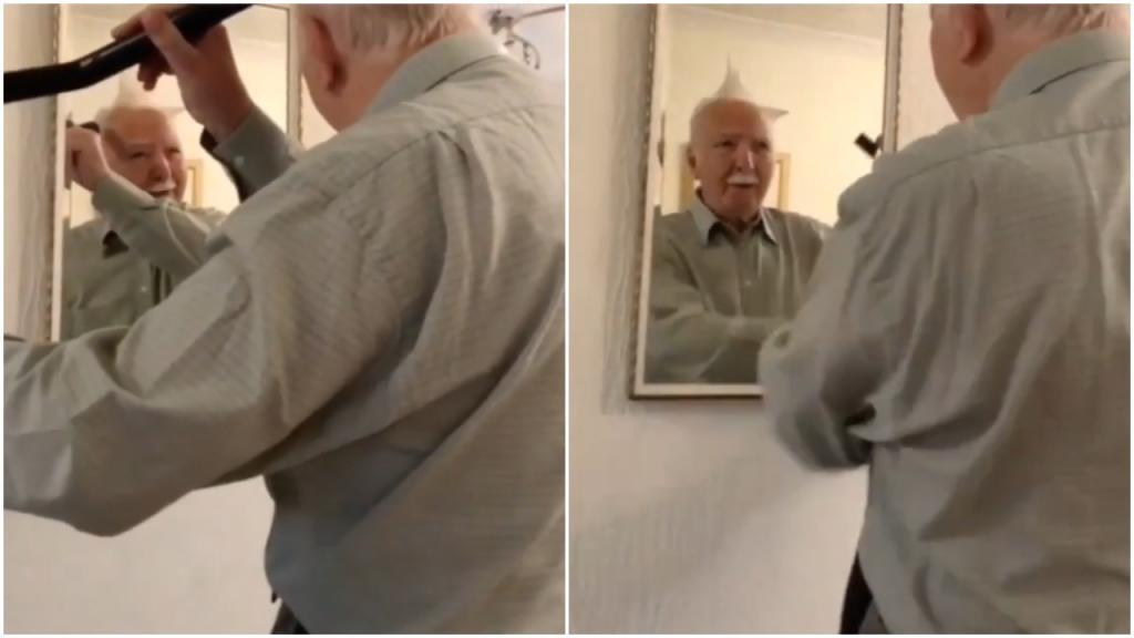 Дедушка-стилист: пожилой мужчина с помощью пылесоса попытался сделать модную прическу (видео)