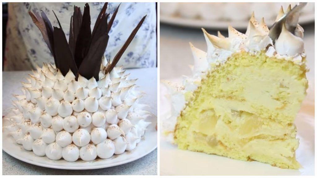 Праздничный торт с заварным кремом и ананасовым сиропом