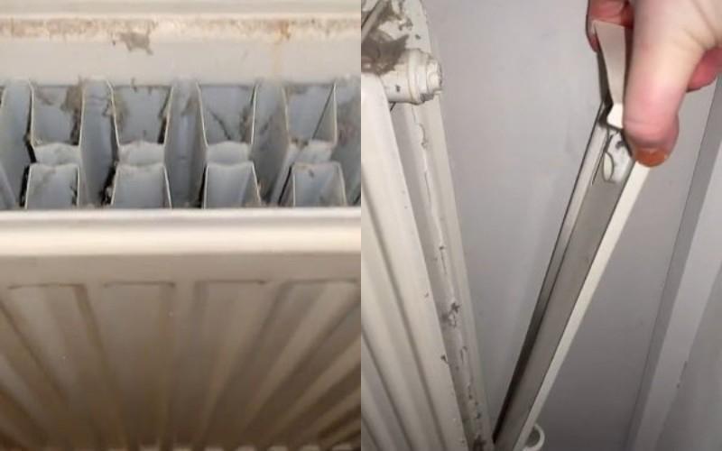 Женщина открыла крышку радиатора и увидела много грязи. Очистить батареи ей удалось при помощи горячей воды