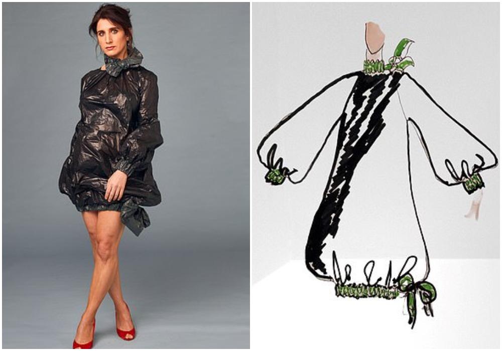 Платья и даже комбинезон: в умелых руках мусорные мешки не уступают дизайнерской одежде
