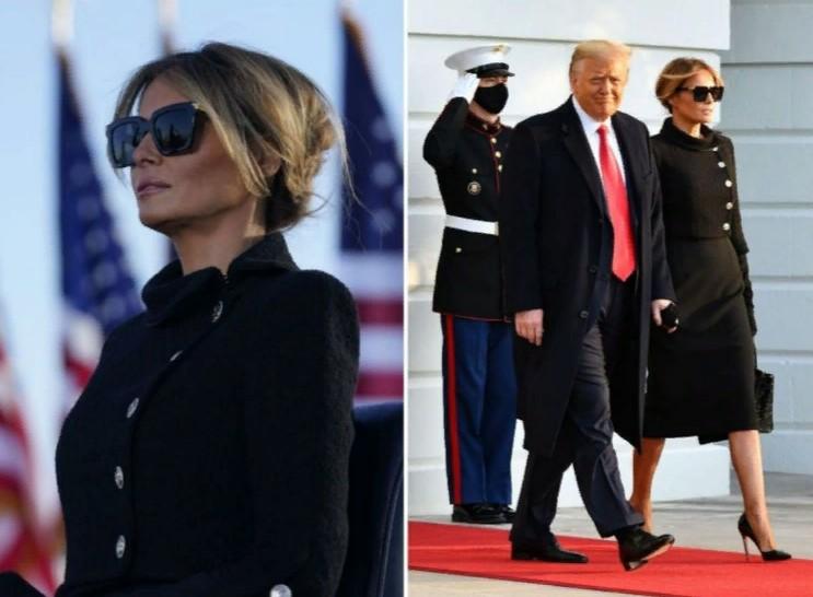 Мелания Трамп покинула Белый дом во всем черном, но во Флориду прибыла в цветастом платье за 3700 долларов