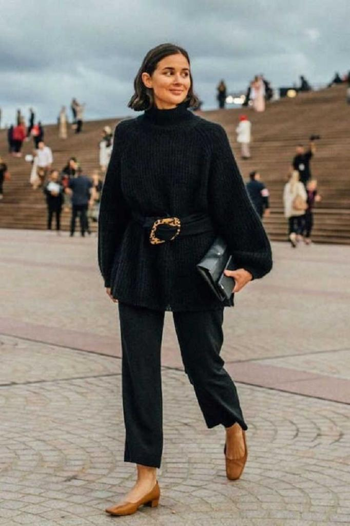Что может быть более стильным, чем свитер или кардиган, подвязанный ремнем: подборка повседневных образов