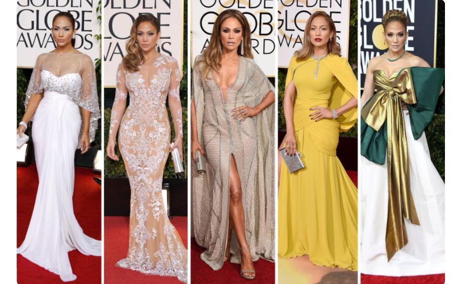 Образы Дженнифер Лопес с ковровых дорожек «Золотого глобуса» стали самыми популярными в истории премии