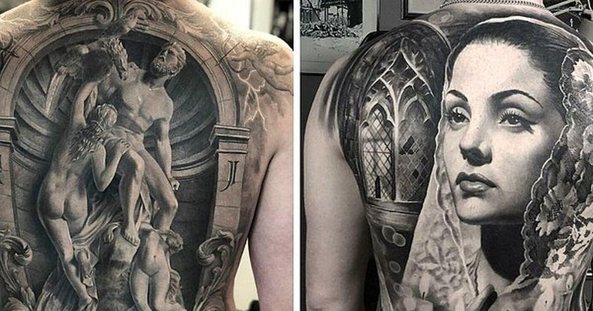 20 впечатляющих татуировок от шведского художника, специализирующегося на черно сером реализме