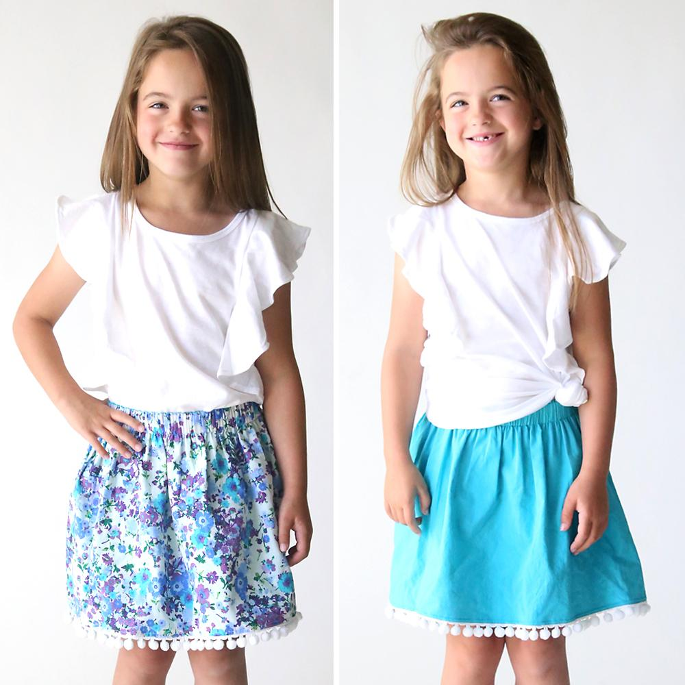Как сшить симпатичную двухстороннюю юбку с помпонами для девочки. Это под силу даже новичкам