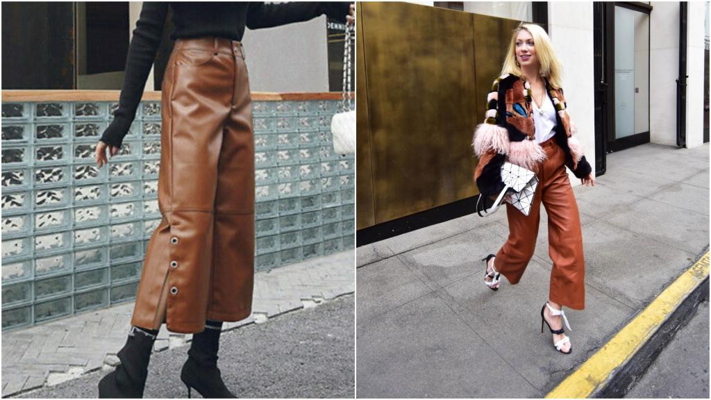 Кожаные брюки? Да, но только широкие: подсмотрим в Европе модный тренд этой осени