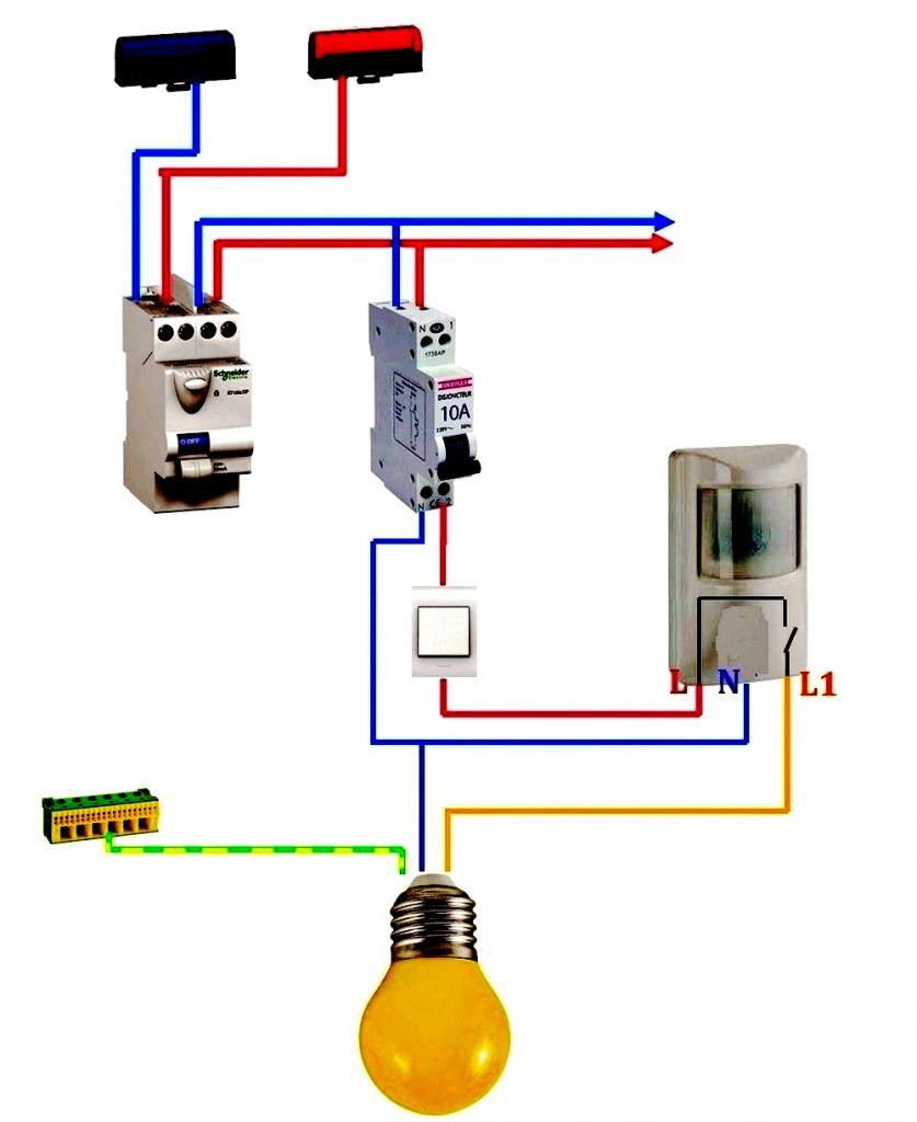 Схема подключения датчика движения с выключателем фото 986