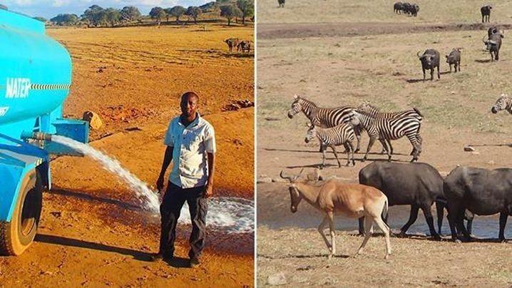 Фермер изКении доставляет воду длядиких животных вовремя засухи