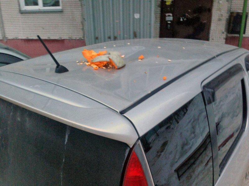 ВНовосибирске наприпаркованный автомобиль сбросили тыкву