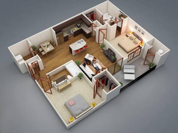 Дизайн трехкомнатной квартиры: стили, идеи оформления